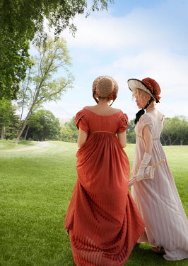 ILINA SIMEONOVA Young women in regency dresses on lawn