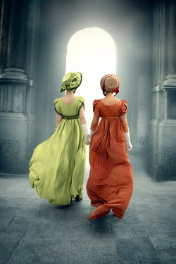 ILINA SIMEONOVA Young women in regency dresses walking to archway
