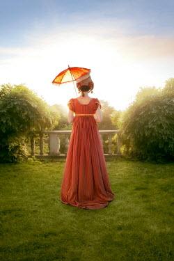 ILINA SIMEONOVA REGENCY WOMAN WITH PARASOL IN SUNLIT GARDEN Women