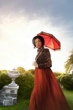 ILINA SIMEONOVA REGENCY WOMAN WITH PARASOL WALKING IN GARDEN Women