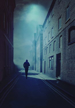 Lyn Randle SILHOUETTED MAN IN HOOD RUNNING BY WAREHOUSES Men