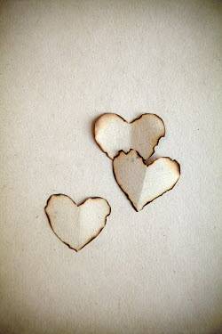 Miguel Sobreira Three Burnt Paper Hearts on paper Miscellaneous Objects