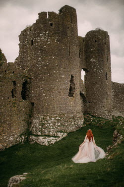 Rebecca Stice WOMAN WITH RED HAIR BY RUINED CASTLE Women
