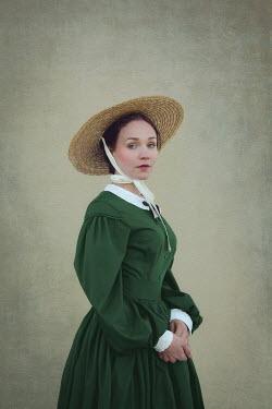 Joanna Czogala HISTORICAL WOMAN IN HAT AND GREEN DRESS Women