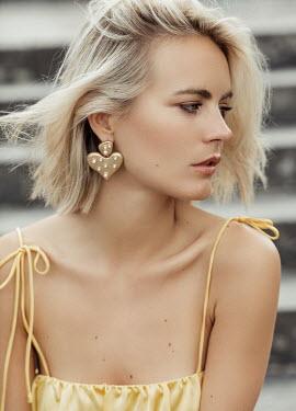 Nina Masic GIRL WITH SHORT BLONDE HAIR WITH GOLD EARRINGS Women