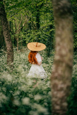 Rebecca Stice WOMAN WITH RED HAIR AND HAT IN SUMMERY COUNTRYSIDE Women