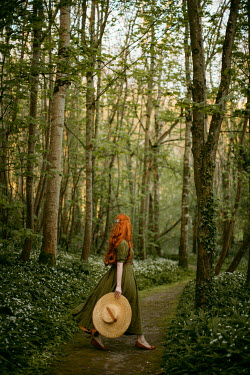 Rebecca Stice GIRL WITH RED HAIR HOLDING HAT ON COUNTRY PATH Women
