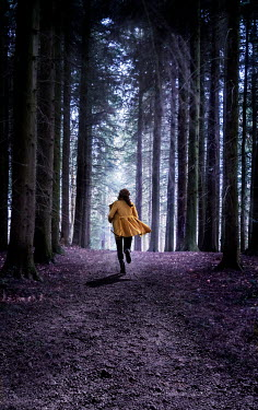 Stephen Mulcahey WOMAN IN YELLOW JACKET RUNNING IN FOREST Women