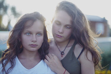 Anna Rakhvalova TWO SAD GIRLS OUTDOORS IN SUMMER Children