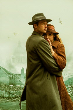 CollaborationJS A wartime couple  looking at the bombed out buildings of london