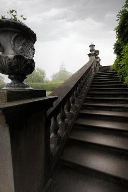 ILINA SIMEONOVA GRAND STONE STEPS AND URNS IN GARDEN Stairs/Steps