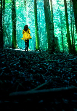 Stephen Mulcahey a woman wearing a yellow coat running away from the camera into a forest