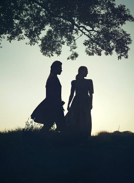 Mark Owen Silhouette of couple on hill under tree
