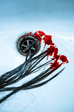 Magdalena Russocka blood and wet strands of hair in ceramic basin