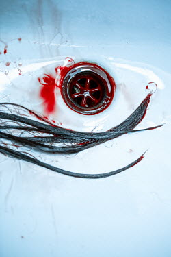 Magdalena Russocka Blood and wet hair in ceramic basin