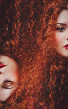Joanna Czogala Double exposure of young woman with curly red hair