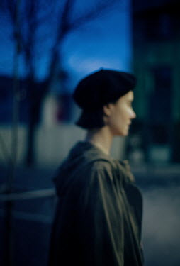 Felicia Simion WOMAN IN BERET AND COAT IN STREET AT NIGHT Women
