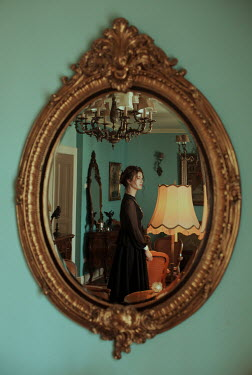 Felicia Simion HISTORICAL WOMAN STANDING IN HOUSE REFLECTED IN MIRROR Women