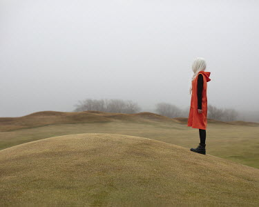 Patty Maher GIRL WITH WHITE HAIR IN MISTY LANDSCAPE Women