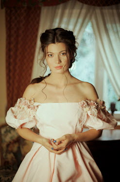 Felicia Simion BRUNETTE WOMAN IN GOWN IN HOUSE WITH WINDOW Women