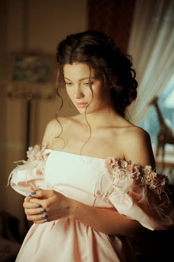 Felicia Simion SAD BRUNETTE GIRL IN GOWN IN HOUSE Women