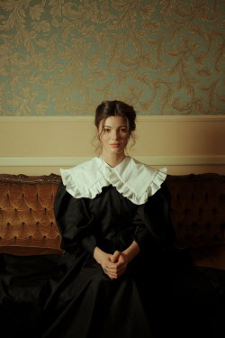 Felicia Simion HISTORICAL BRUNETTE WOMAN SITTING INDOORS Women
