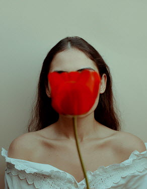 Felicia Simion RED TULIP COVERING FEMALE FACE Women