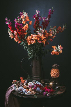 Magdalena Wasiczek FLOWERS SHELLS AND PINEAPPLE ON TABLE Flowers