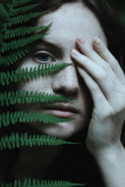 Alina Zhidovinova GIRL WITH FERN AND HAND COVERING FACE Women