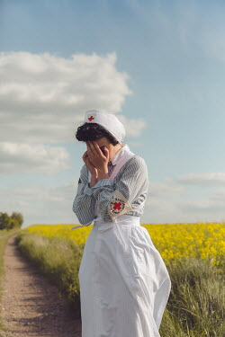 Joanna Czogala RETRO NURSE CRYING ON COUNTRY ROAD Women