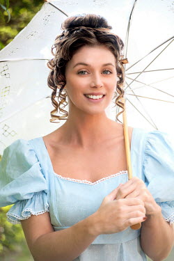 Lee Avison SMILING REGENCY WOMAN WITH PARASOL OUTDOORS Women