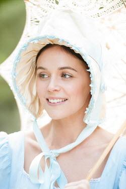 Lee Avison portrait of a regency woman with bonnet and parasol
