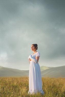 Joanna Czogala REGENCY WOMAN IN WHITE IN SUMMERY LANDSCAPE Women