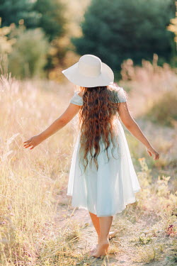 Klaudia Rataj BAREFOOT YOUNG GIRL WITH HAT IN SUMMERY COUNTRYSIDE Children