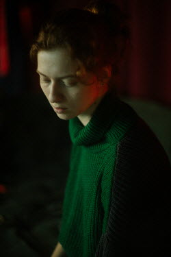 Marta Syrko SERIOUS WOMAN IN GREEN SWEATER Women