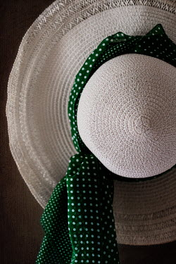Maria Petkova WHITE STRAW HAT WITH GREEN SPOTTED SCARF Miscellaneous Objects