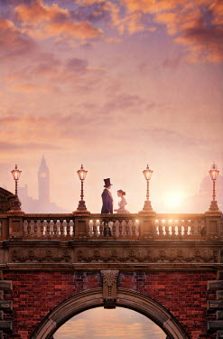 Lee Avison victorian couple standing on london bridge at sunset Couples