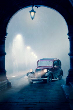 Lee Avison vintage 1940s car at night