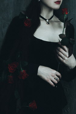 Alina Zhidovinova WOMAN IN BLACK WITH RED ROSES Women
