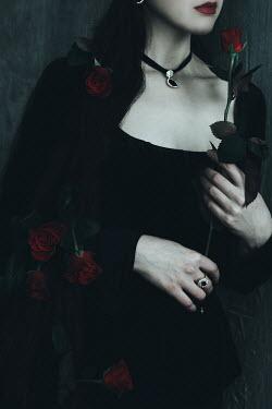 Alina Zhidovinova WOMAN IN BLACK WITH RED ROSES Women