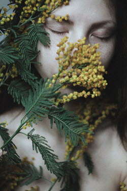 Alina Zhidovinova GIRL WITH CLOSED EYES AND YELLOW FLOWERS COVERING FACE Women
