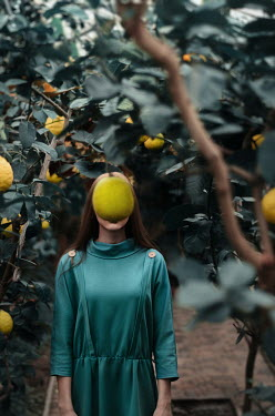 Inna Mosina GIRL IN GREENHOUSE WITH LEMON TREES Women