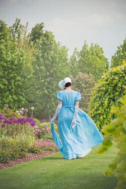 Joanna Czogala REGENCY WOMAN WITH BONNET WALKING IN SUMMERY GARDEN Women