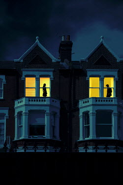 Miguel Sobreira MAN AND WOMAN IN WINDOWS OF HOUSES AT NIGHT Couples