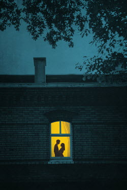 Joanna Czogala Couple embracing in window of house at night