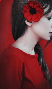 Irene Lamprakou BRUNETTE WOMAN WITH RED FLOWER IN HAIR Women