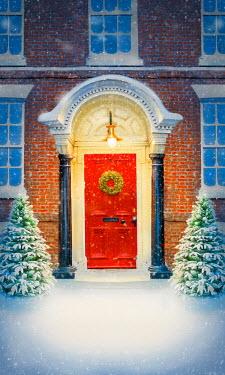 Lee Avison HOUSE WITH CHRISTMAS WREATH ON DOOR IN SNOW Houses