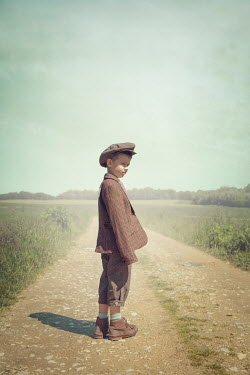 Joanna Czogala LITTLE BOY IN CAP ON COUNTRY ROAD Children