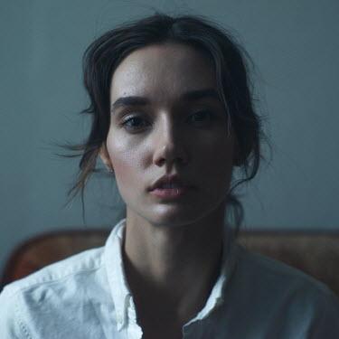 Maria Yakimova SERIOUS BRUNETTE GIRL IN WHITE SHIRT Women