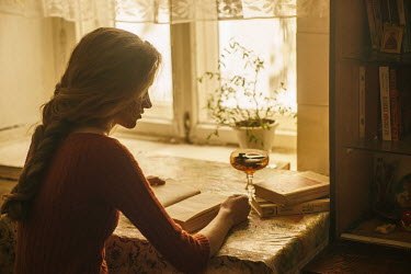 Maria Yakimova GIRL SITTING READING IN HOUSE BY WINDOW Women
